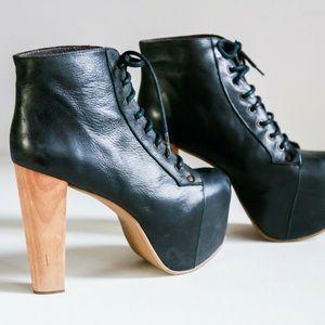 Jeffrey Campbell Black Leather Platform Boots